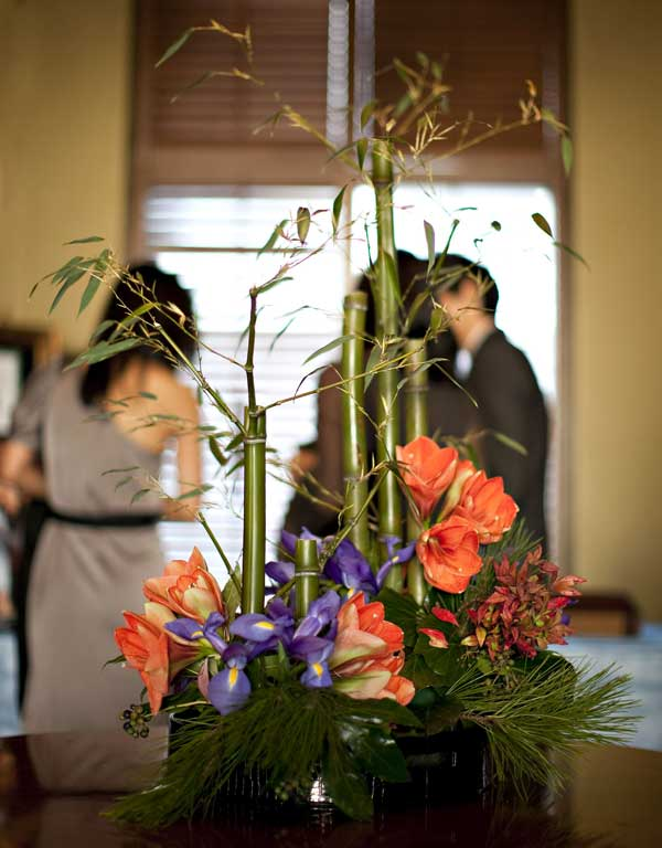 Bamboo Ikebana, Greeting to Wedding at Foyer
