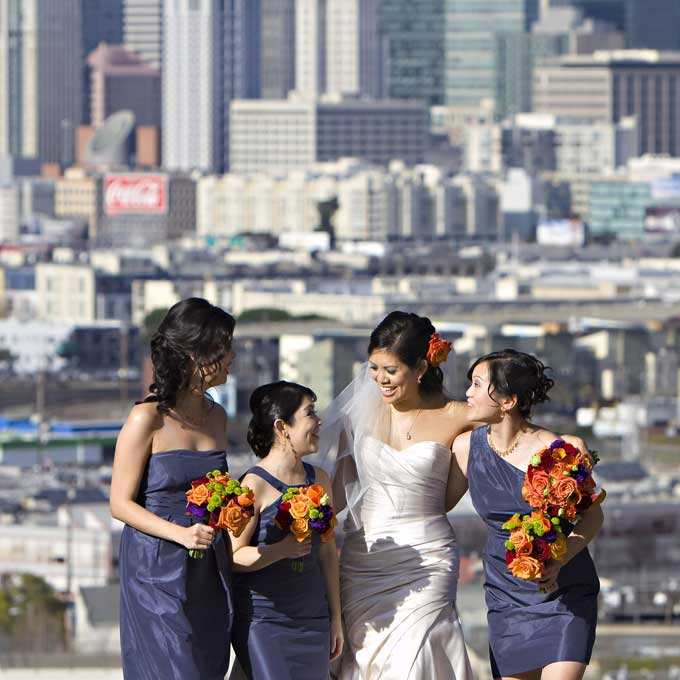 bride and bridesmaids with bouquets in san francisco