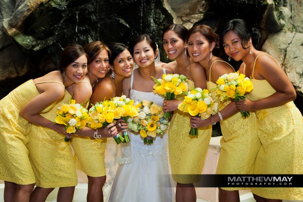 Bride and Bride's Maids with their wedding bouquets in Sausalito