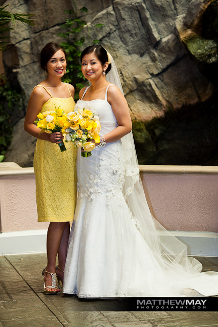 Bride and Maid of Honor with wedding bouquets