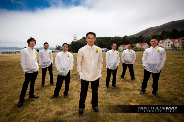 Groom's men with yellow boutonieres