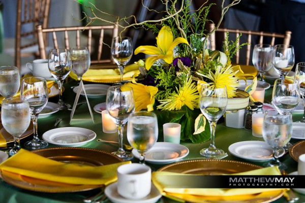 Ikebana centerpieces at wedding guest tables