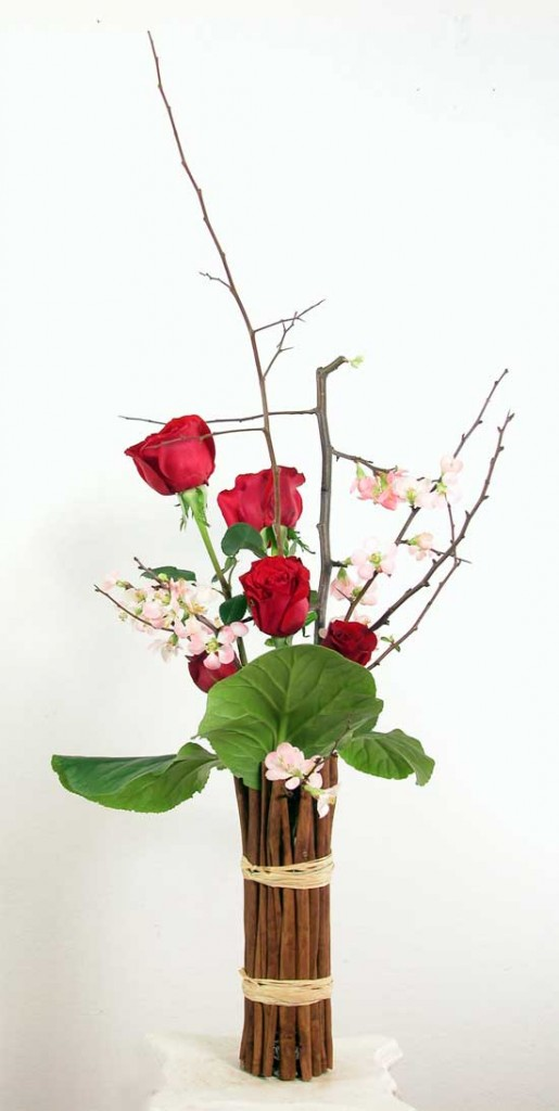 Valentine Roses with branches ~ vase wrapped with cinnamon