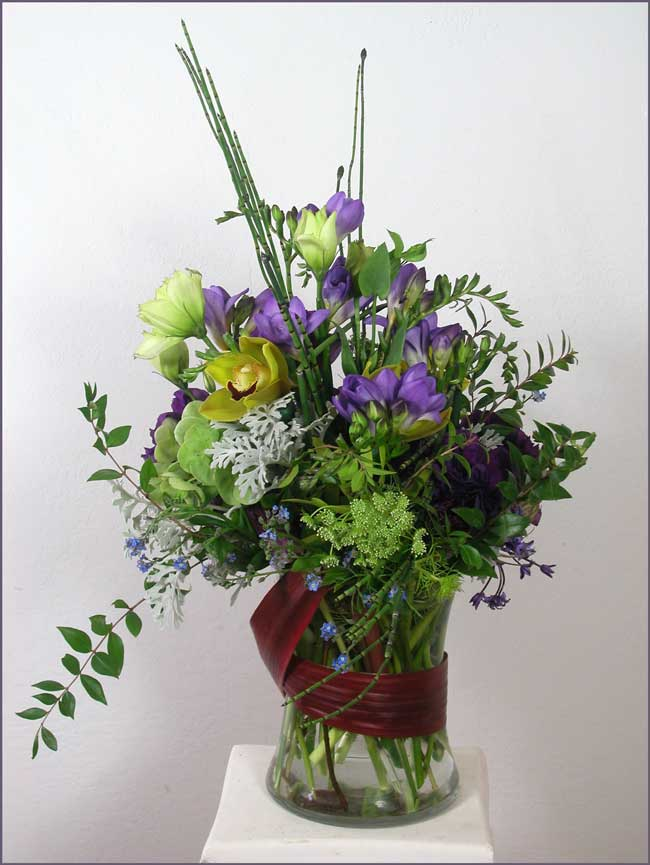 Floral Celebration in Blues and Purple (second view)