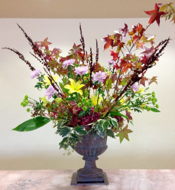 5' tall original arrangement installed at Smith Ranch Homes in San Rafael every week.
