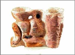 fir-sculpture of face-between-vases, blended stains, tung oil
