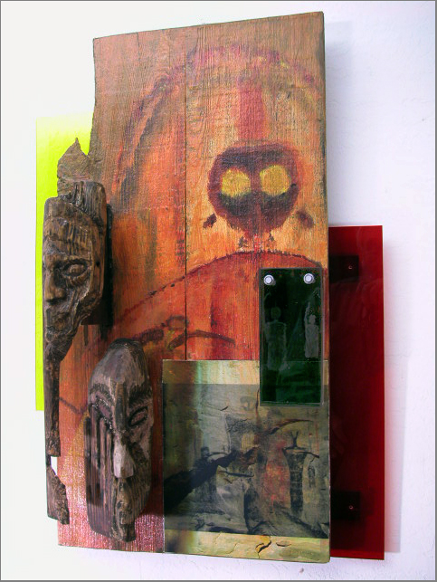 Acrylic on reclaimed redwood, masks carved in fir, pictographic digital photos printed on canvas; dimensions: 20in w x 30in h x 7in deep; wood, acrylic, canvas, plexiglas