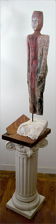 "Future Back, Redwood on stone base, 38"" tall"