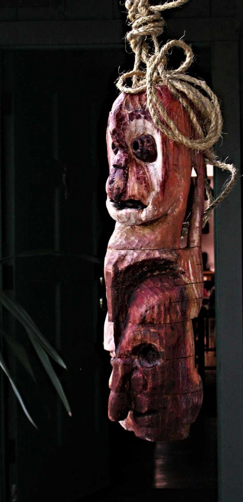 Faces in the Invisible bag ~ Wood Sculpture by Peter Neibert