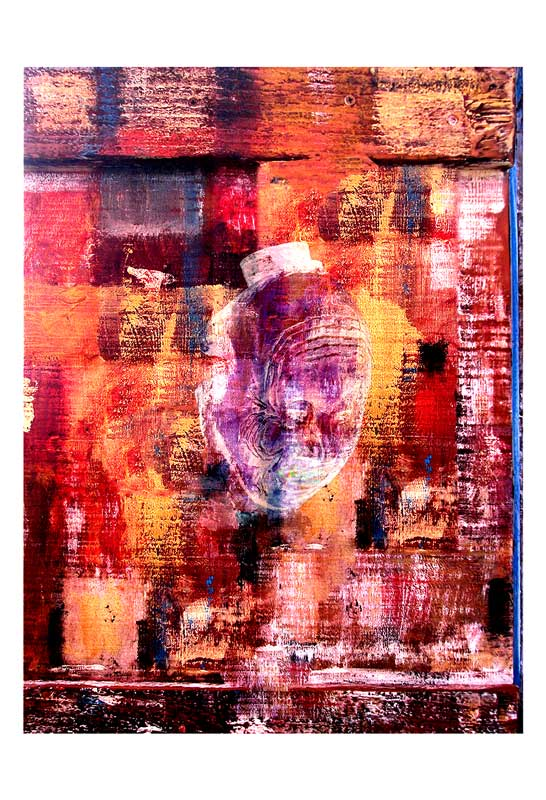 Wood carving mask over woodcolor pallet, photo print on canvas by Peter