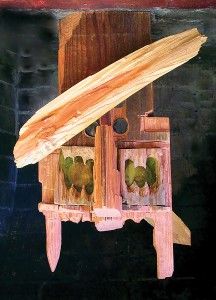 Owl/Not-Owl, redwood sculpture with plexiglas