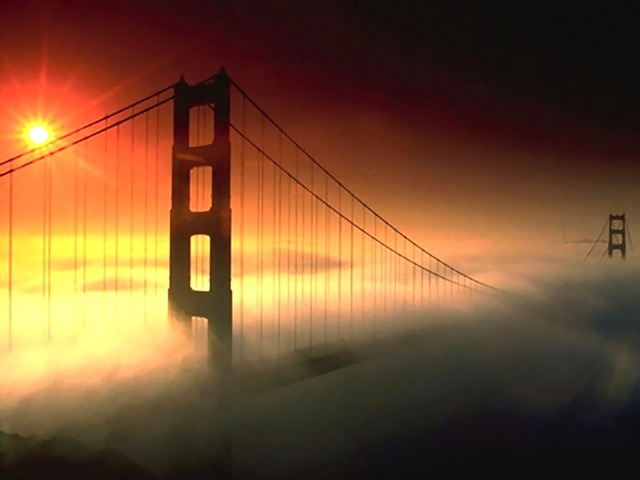 Golden Gate Bridge in Fog, original photo by Peter Neibert