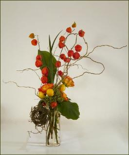 ikebana Chinese lanterns, curly willow, vertical design, green orange