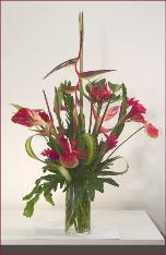 red tropicals make royal arrangement