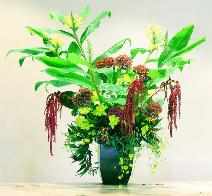 Five foot tropical bouquet atop buffet at Smith Ranch, San Rafeal.