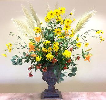 Five footer floral arrangement in weekly design series