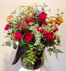 roses, orchids, bouquet with