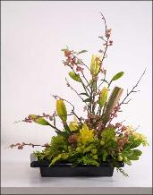classic ikebana with lilies delivered to the Tamalpais, Greenbrae.
