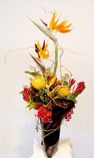 bird of paradise, vertical bouquet,  ti leaves