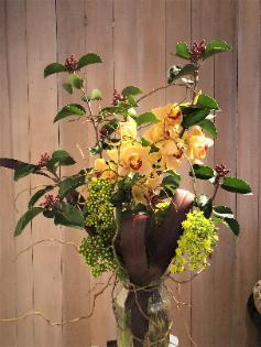 bouquet orchids branches curly willow