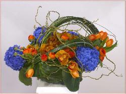 Bouquet to the Art of Chihuly's Ultramarine Form with Orange - click here to enlarge