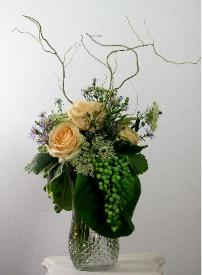grapes roses with curly willow bouquet