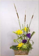 cattails lilies ikebana with lisianthus