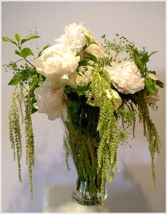 peonies,white,decorative amaranthus bouquet