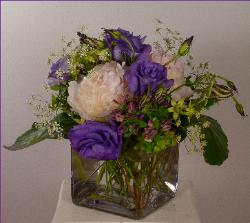 white peony with purple lisianthus