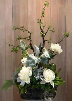 peonies flat curly willow basket arrangement delivered kentfield CA