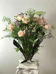 roses with freesia - delicate bouquet front view