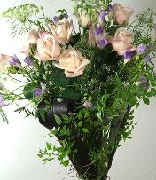 delicate bouquet roses with freesia - right side view