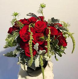 dozen roses with green amaranthus