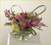 roses, lilies, seasonal flowers, spherical glass vase