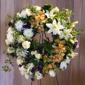 sympathy wreath roses orchids