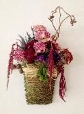 Dried flowers wall hanging in curly willow basket, by Yukiko