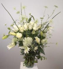 White Rose Bouquet with climbing ivy memorial